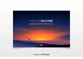 欢迎登录带有渐变日落的登录页面_5267522