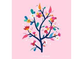 粉红色背景上扁平的五颜六色的花枝_5445419