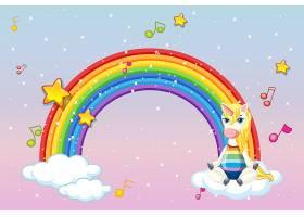 粉色天空背景中带有可爱独角兽的空白横幅_9306110