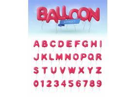 彩色独立的气球字母表真实图标带有粉红色_4280590