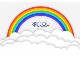 彩虹背景配以白色剪纸云彩图案_8776599