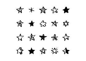 带插图的星形图标集合_2631992