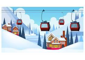 带有宾馆和滑雪缆车的冬季景观_3575695