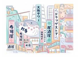 带有建筑物的现代日本街道_9979222