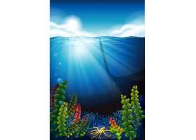 场景背景为蓝色大海和水下_4923738