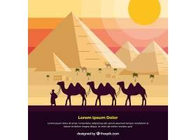 埃及金字塔景观与骆驼大篷车的背景_2669995