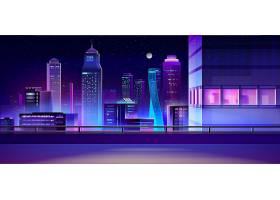 城市夜景天际线卡通背景_4758718