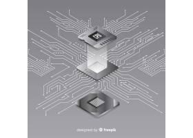 具有等距透视的现代CPU背景_3279505