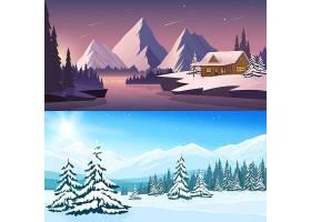 冬季景观横幅白天和晚上都有房屋河流_4005911