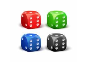 分离在白色背景上的不同红黑蓝绿骰子_11062556