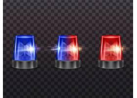 3D逼真的红色和蓝色闪光灯警察救护车或_3266562