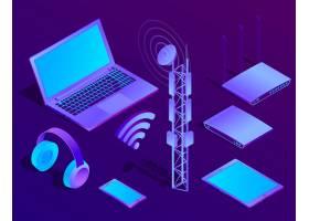3d等距紫罗兰色笔记本电脑带wifi和无线_2892043