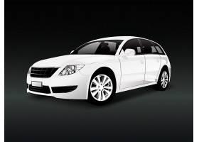 黑色背景矢量中的白色SUV汽车_3529797