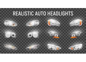 逼真的汽车前大灯设置在透明背景上带有全_6871669