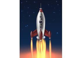 逼真的金属火箭发射背景海报_4301462