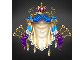 隔离在透明背景上的皇家纹章3D真实感矢量_4015198