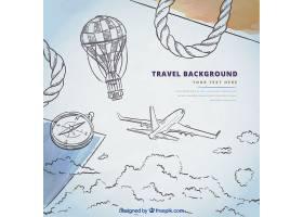 飞机草图和旅行元素的背景知识_1038167