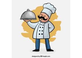 骄傲的厨师拿着托盘的彩色背景_1134676
