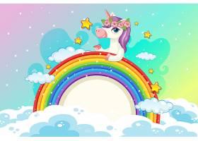 粉色天空背景中带有可爱独角兽的空白横幅_9689913