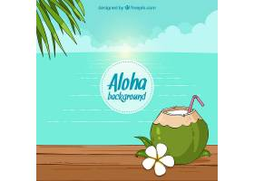 海滩为背景有椰子和手绘的鲜花_1183851