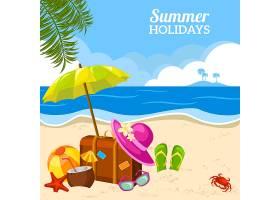 海滩海报上的夏日海景_1538932