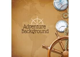 背景为复古航海符号和世界地图的冒险海报_2868828