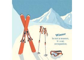 滑雪冬山景观背景复古海报_4561572