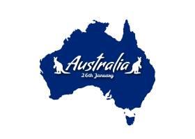 背景为澳大利亚日的蓝色地图_1002872