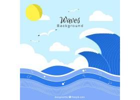 背景平坦有海浪和海鸥_1106433