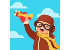 穿着像飞行员一样玩玩具飞机的孩子_1311248
