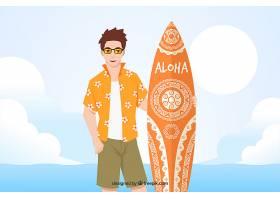 穿着夏威夷T恤和冲浪板的男孩背景_1174678