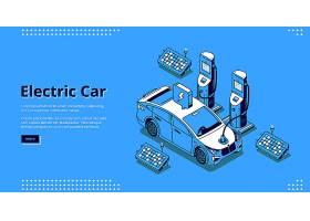 电动车横幅带插头电缆和太阳能电池板的充_9886799