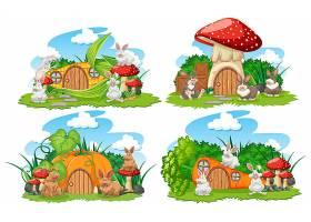 花园里的一组蔬菜梦幻屋白色背景上孤立着_8824666