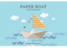 抽象波浪的可爱纸船的背景_1113791