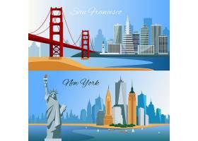 带有旧金山和新Yourk城市景观的美国水平扁_4188714