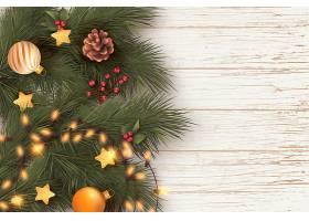 带有树叶和灯光的逼真圣诞背景_5915630