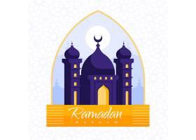 带有清真寺自由矢量的平面设计斋月壁纸_7342115