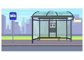 带有空公交车站和标志插图的城市景观_3296496