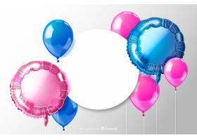 带有空白横幅的光滑三维气球背景_5155149