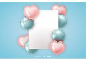 带有空白横幅的光滑三维气球背景_5155150