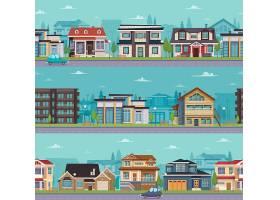 带有郊区房屋和小屋的无缝城市景观模板_4026483