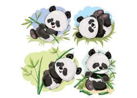 带竹子卡通载体的顽皮熊猫熊宝宝_1371748