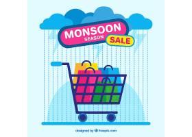 带购物车的季风季销售背景_2595042