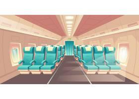 带飞机机舱的矢量插图带蓝色椅子的经济舱_4015159