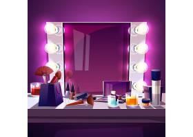 彩妆方镜配灯泡卡通插图现代银框_3266700