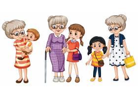 多个位置的家庭成员卡通人物_8696214