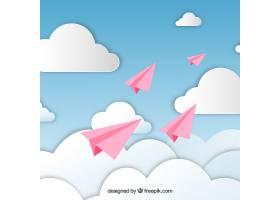 多云天空中的粉色纸飞机_2040279