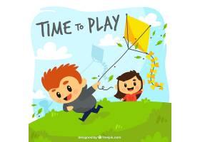 孩子们玩风筝的背景_1079104