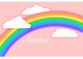 带云彩粉色背景的拱形彩虹_4724967