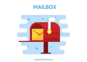 带信封的红色邮箱背景_1064005